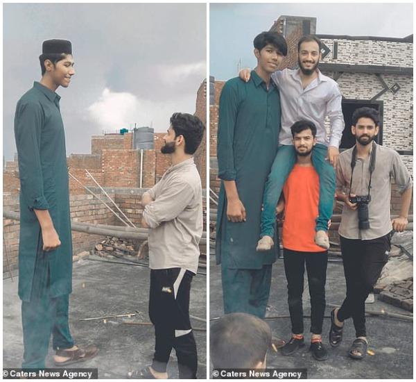 मुदस्सर गुर्जर, जो कि 7 फुट 6 इंच की लंबाई के हैं-