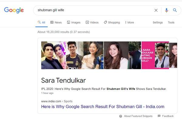 गूगल ने बताया सारा को शुबमन की पत्नी-
