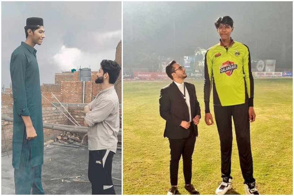 7 feet 6 inch tall young bowler Mudassar Gujjar dreams for representing the Pakistan one day