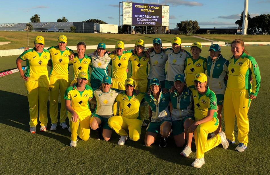 Australias women break the world record of their own mens team, won 22 matches in ODI