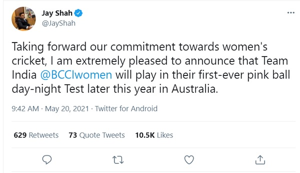 Indian womens cricket team will play their first day night test in Australia, Jay Shah confirms