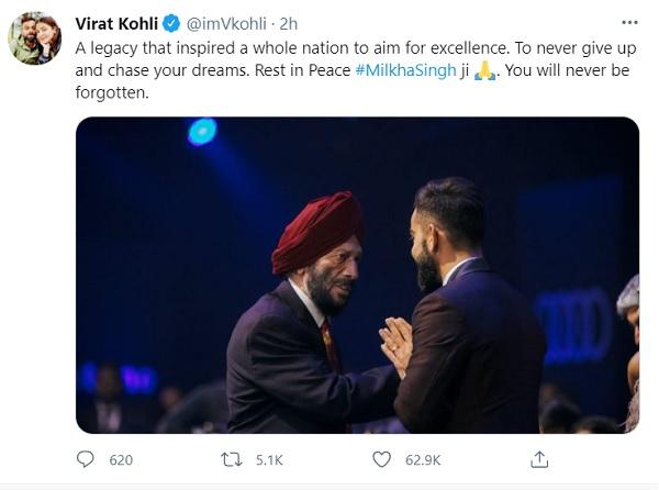 Virat Kohli pays tribute to Milkha Singh says You will never be forgotten