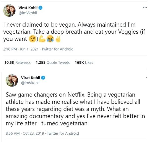 कोहली ने कभी नहीं किया वेगन होने का दावा-