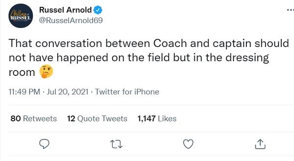 रसेल अर्नोल्ड ने कहा- चर्चा ड्रेंसिग रूम में होनी चाहिए थी