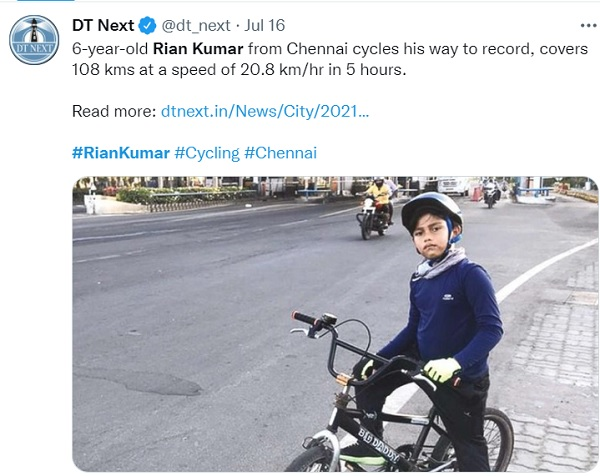 6-year-old boy sets world record by cycling 100-km non-stop in Chennai
