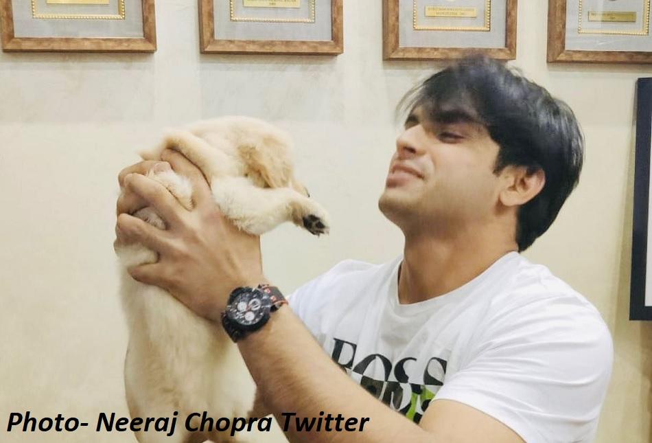Neeraj Chopra met Abhinav Bindra, got a puppy named Tokyo as a gift