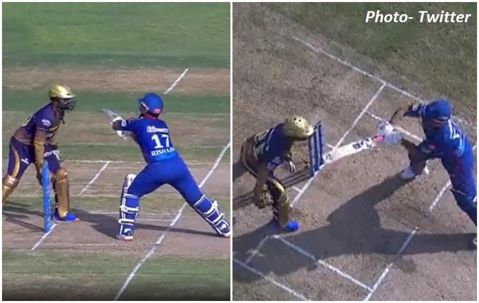 IPL 2021: Rishabh Pant almost hit the bat on Dinesh Karthiks head, DK showed anger