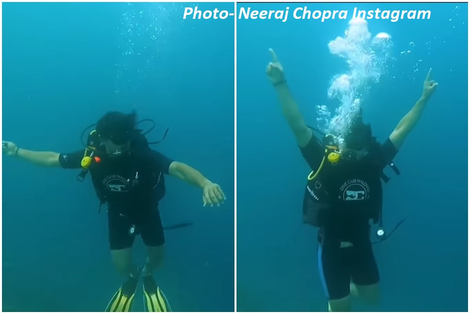 नीरज चोपड़ा ने पानी के अंदर दिखाया भाला-फेंक एक्शन, शुरू हुई ट्रेनिंग- VIDEO