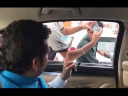 Video Sachin Tendulkar Stops Car Asks Two Boys Riding Scooter To Use Helmet