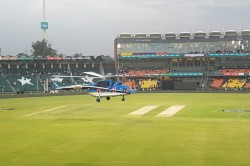 Psl 3 Helicopter Used At The Gaddafi Stadium Help Dry The Wet Outfield