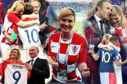 Croatian President Kolinda Grabar Supporting Her Team After