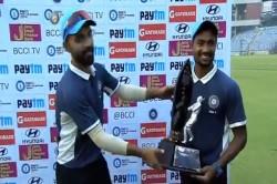 Watch Ajinkya Rahane Makes Heartwarming Gesture After Winning Deodhar Trophy