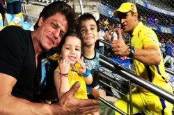 Ms Dhoni And Shah Rukh Khan Captured In One Frame Ipl 2019 Match