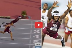 Athlete Wins Hurdles Event With Incredible Dive At Finish Line Watch Video