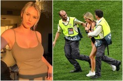 Russian Model In Swimsuit Invades The Pitch At Champions League Final To Advertise Porn Website