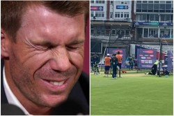 Cwc19 Australia Net Bowler Collapses By A Strong Shot Of David Warner