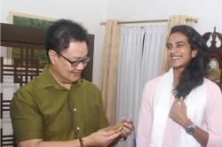 Sports Minister Kiren Rijiju Rewards Pv Sindhu With Rs 10 Lakh