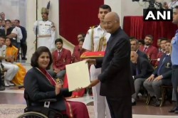 President Ram Nath Kovind Honored Deepa Malik With Rajiv Gandhi Khel Ratna Award