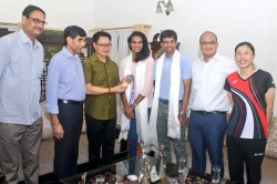 Union Sports Minister Kiren Rijiju Honored Pv Sindhu See Pictures
