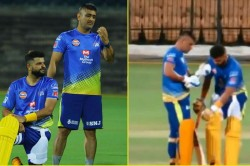 When Suresh Raina Unintentionally Hits Dhoni S Bat With His Leg Watch Video