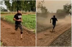 Mohammed Shami Running Barefoot In The Fields Video Viral On Social Media