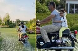 Dhoni Takes Ziva On A Bike Ride Inside Ranchi Farmhouse Video Viral On Social Media