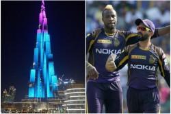 Ipl 2020 Kolkata Knight Riders S Grand Welcome Burj Khalifa Illuminated In The Colors Of Kkr Watch