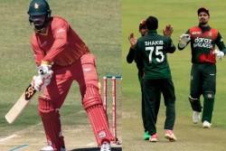 Bangladesh Vs Zimbabwe Brendon Taylor Hits His Bat While Driving Ball Bizarre Video Went Viral
